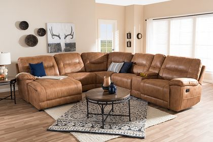 Baxton Studio Mistral Light Brown Palomino Suede 6-Piece Sectional with Recliners Corner Lounge Suite