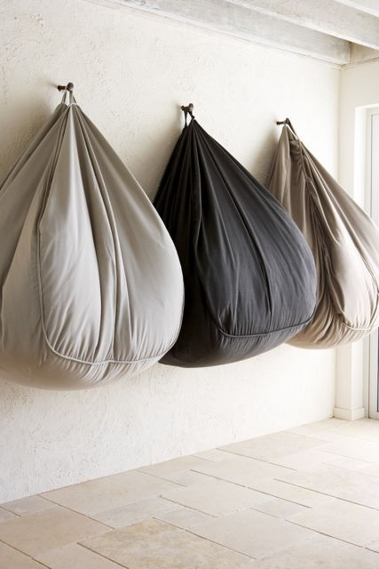 Use hooks for hanging outdoor beanbags and chair cushions
