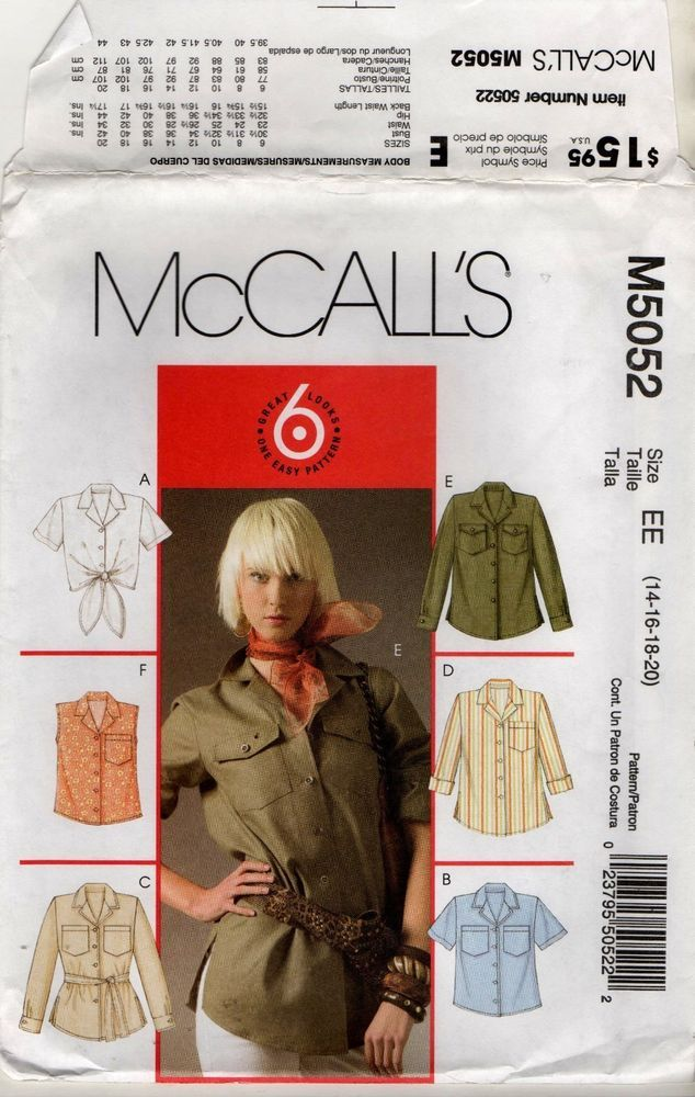 M5052 McCalls Pattern Misses / MIss Petite Shirt 2 Length Tie Belt 14 16 18 20  #McCalls #SewingPattern