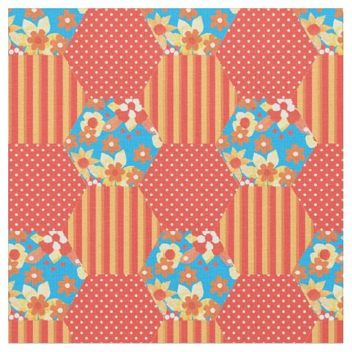 A chic fabric with a Faux Patchwork of Polka Dots, Stripes and Floral patterns in Bright Red, Orange and Yellow and Sky Blue. Part of the Posh and Painterly 'Orange Fizz' collection: up to $27.95 per yard - http://www.zazzle.com/red_orange_yellow_blue_faux_patchwork_pattern-256573628455258324?rf=238041988035411422&tc=pintw