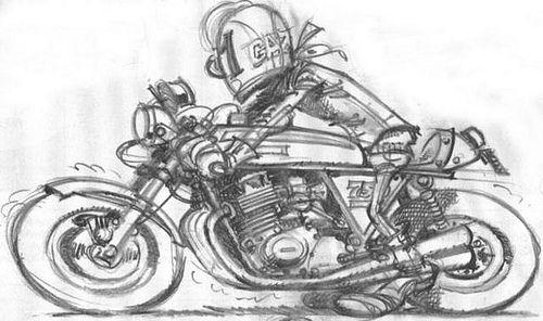 Joe Bar Team doodle - Cafe Racer Kawasaki 750 H2