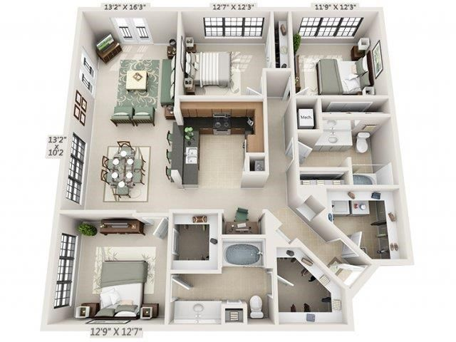 Studio 1 2 3 Bedroom Apartments In Houston The Circle At Hermann Park In 2021 House Layout Plans Sims House Apartment Layout