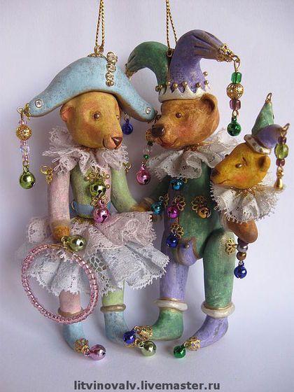 Миниатюра ручной работы. Ярмарка Мастеров - ручная работа. Купить Мини-мишки Арлекин и Коломбина. Handmade. Авторский мишка