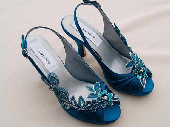 Teal Wedding Shoes Size 7 Peacock Satin Heels Hand Beautiful Wedding Shoes Teal Wedding Shoes Satin Heels