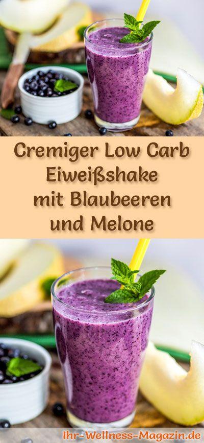 Blaubeer-Eiweißshake selber machen - ein gesundes Low-Carb-Diät-Rezept für Frühstücks-Smoothies und Proteinshakes zum Abnehmen - ohne Zusatz von Zucker, kalorienarm, gesund ...