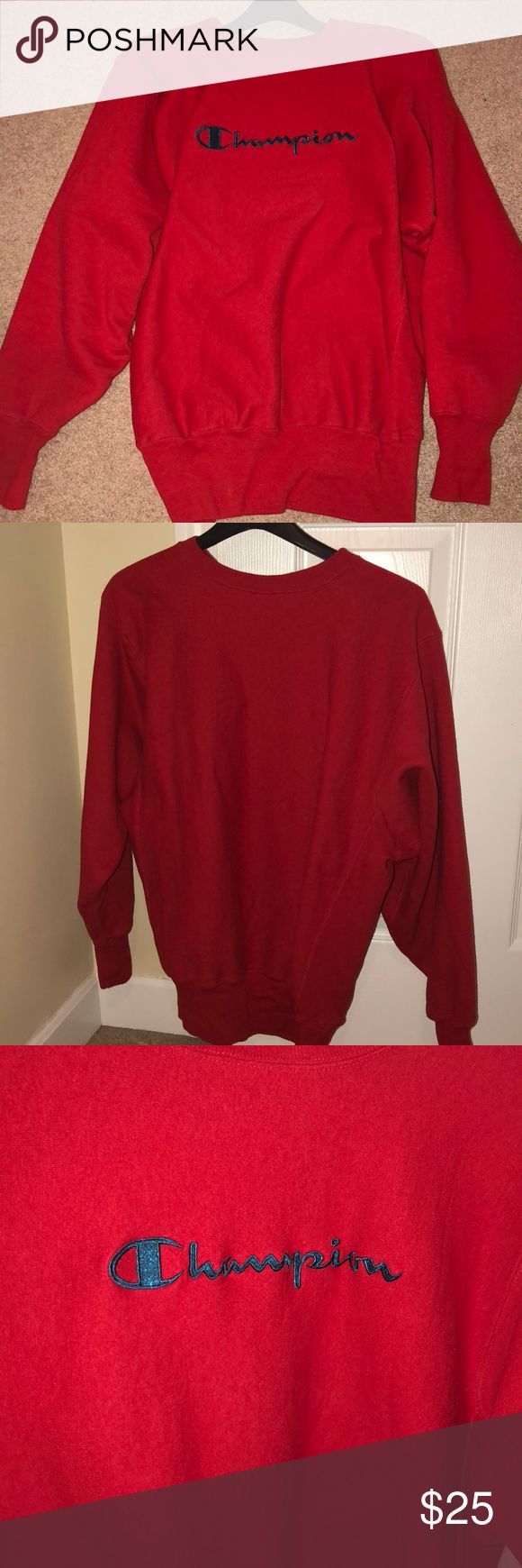 Red champion hoodie red champion hoodie, good condition, inside of shirt where the logo is can be kind of scratchy on the skin Champion Tops Sweatshirts & Hoodies