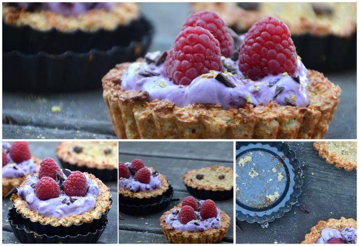 Sund morgenmad // Havregrynstærter med blåbærcreme og friske hindbær