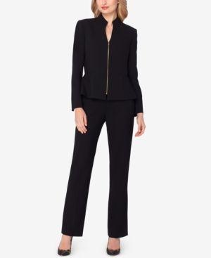 Tahari Asl Petite Zip-Up Peplum Pantsuit - Black 2P