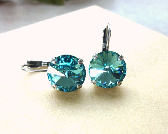 Swarovski crystal lever back earrings 12mm large by SiggyJewelry, Sabika inspired