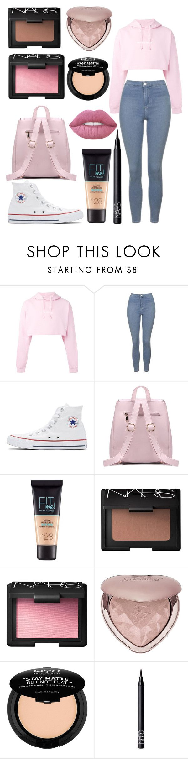 """""""Comfy simple"""" by sarahb-17 ❤ liked on Polyvore featuring F.A.M.T., Topshop, Converse, Maybelline, NARS Cosmetics, Too Faced Cosmetics, NYX and Lime Crime"""