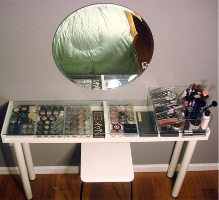 This isn't the CUTEST way to store your make up, but it's a DIY vanity from Ikea. Very practical.