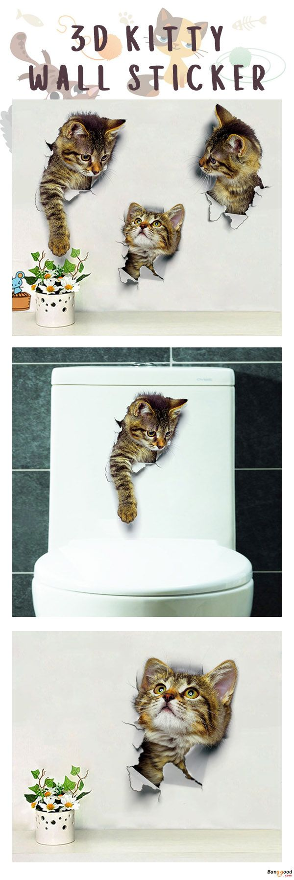 US$1.19+ Free Shipping. 3D cat wall sticker. 3 styles available. Shop at banggood. #home #homedecor#decor#sticker
