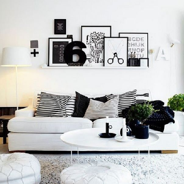 Living Room ideas | Minimalistic Black  White  Note: the accessories and accents on black + white tones