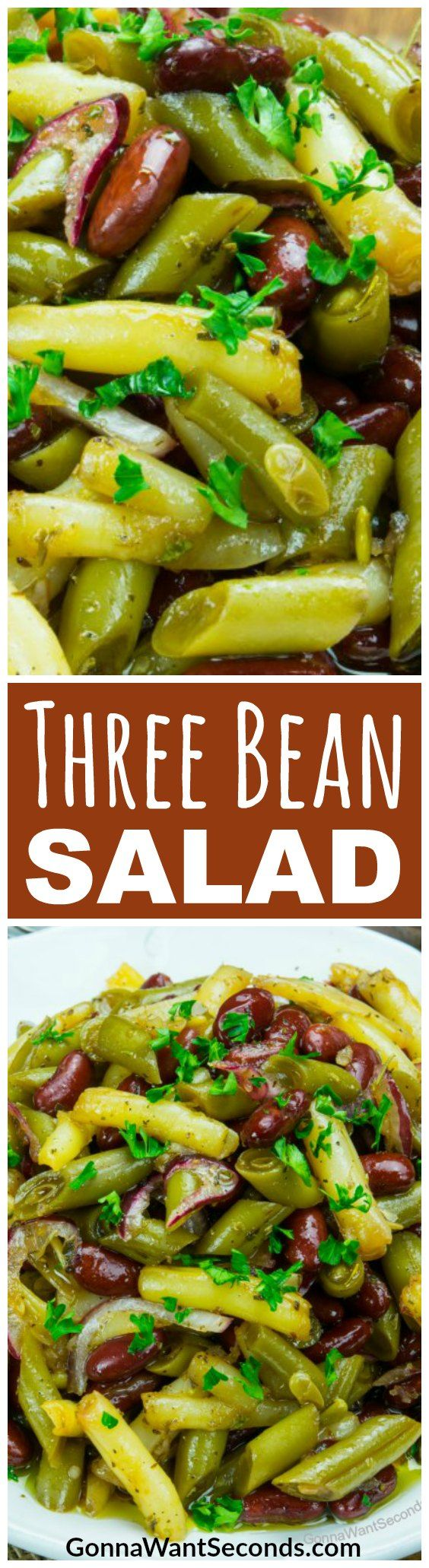 They say three's a crowd, but it's a winning number in my Three Bean Salad! This colorful concoction of beans soaked in a tangy, subtly sweet marinade will be an awesome potluck addition or an amazing side for any meal.