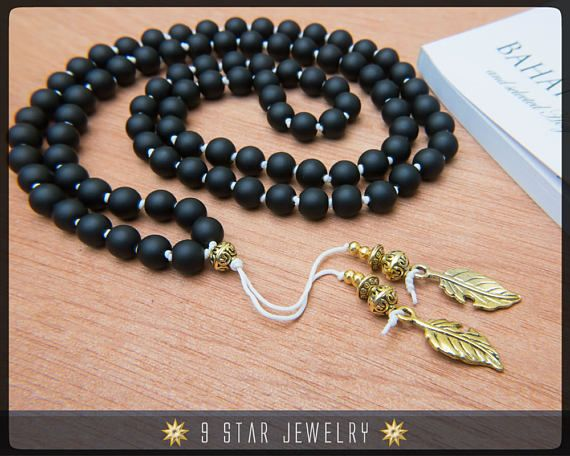 Matte Black Hand Knotted Baha'i Prayer Beads - Full 95