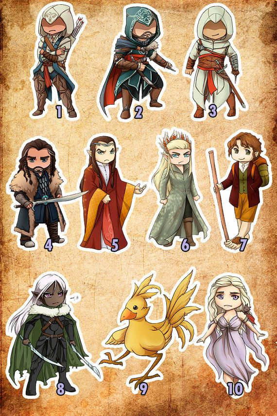 Cute stickers of characters from The Hobbit, Assassins