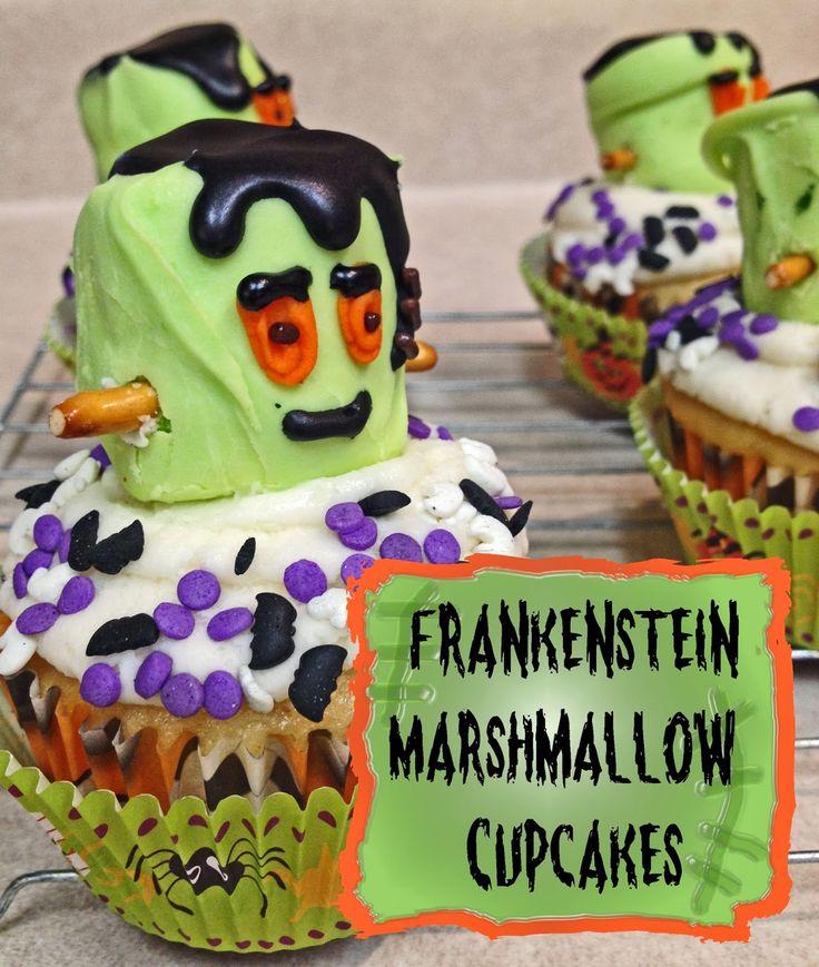 Frankenstein Marshmallow Halloween Cupcakes