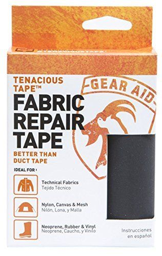 Tenacious Tape Field Repair Kit in an ultralight carryingcanister. Ideal for fast in-field repairs ontents, tarps, rain gear, fishing gear and more. This superaggressive adhesive s