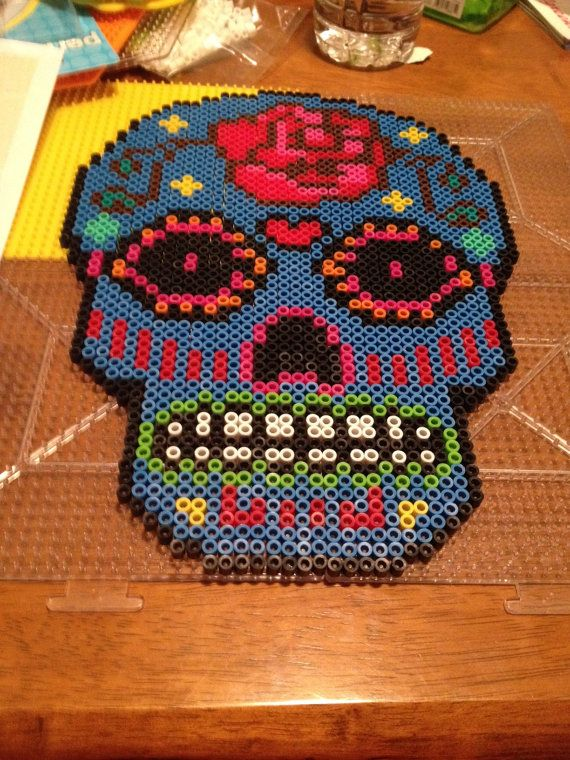 Perler Bead Multicolored Sugar Skull by AECreativeDesign on Etsy, $20.00