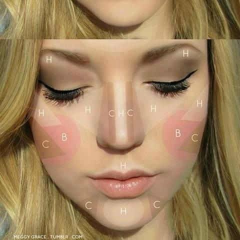 where to place bronzer, highlighter, & blush   Beauty   Pinterest ...