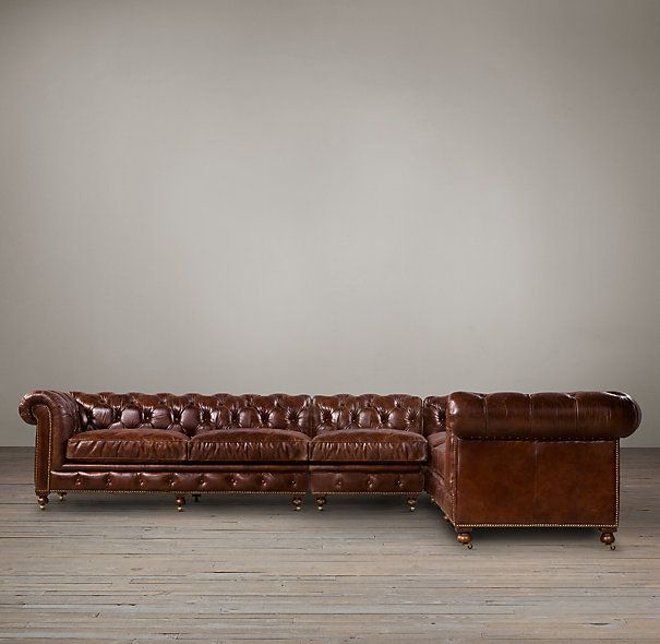 restoration hardware leather sectional couch