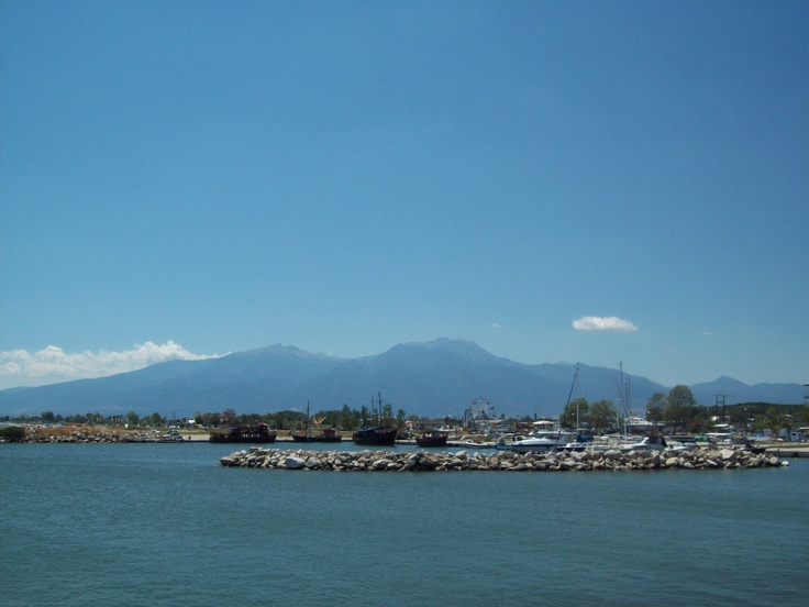 Looking from a seaside pier in Katerini, Greece towards Mt. Olympus