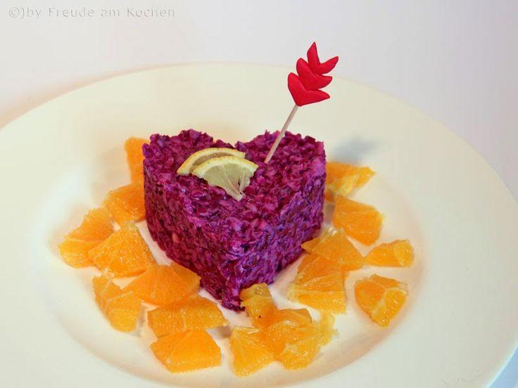 Rotkraut Salat Mit Orangen Und Sesam Dressing Zum Valentinstag   Freude Am  Kochen