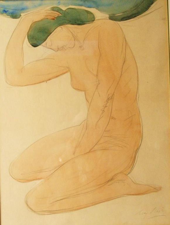 "Auguste Rodin (1840-1917) watercolor - 20""x15"" Pro : Lot 201"