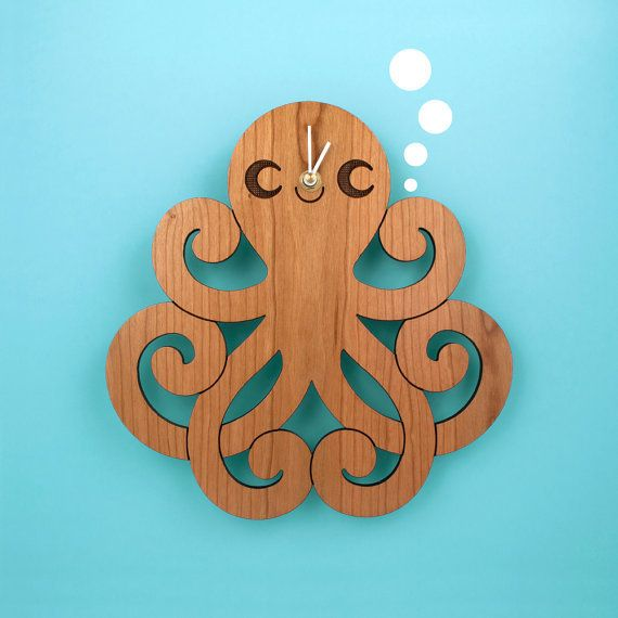 Wood Octopus Wall Clock: Kids Ocean Nursery Theme