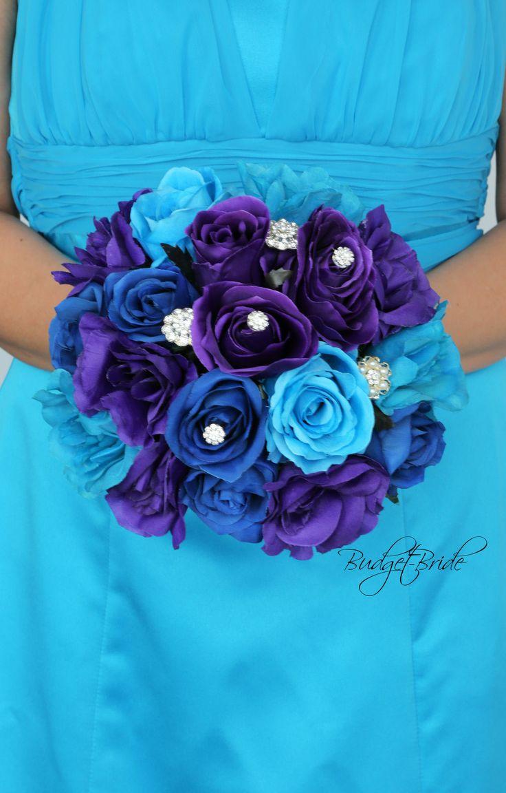 Davids Bridal Malibu Blue brooch Bouquet