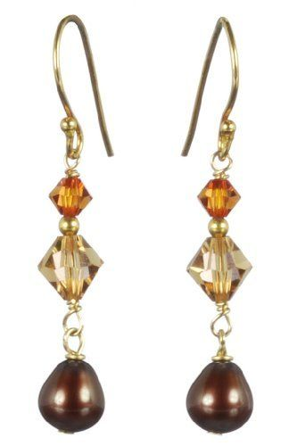 Gold Plated Sterling Silver Crystallized Swarovski Elements with Chocolate Freshwater Cultured Pearl Drop Earrings Amazon Curated Collection. $28.00. Wipe clean with a soft, dry cloth.  Do not use any cleaning agents.