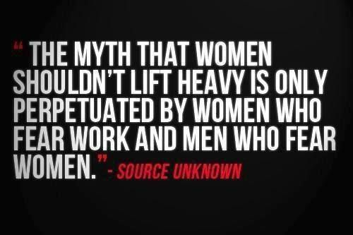 """I once had an arguement with a female """"personal trainer,"""" she said women should not lift weights as they will get too bulky. Correction women do not produce enough testosterone to get bulky."""