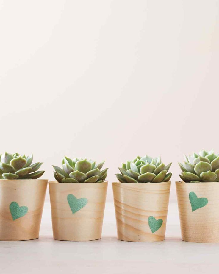 15 Crafts You Can Make in Under 30 Minutes | Martha Stewart Living - A simple paper stencil makes detailing these wooden pots simple and fast!