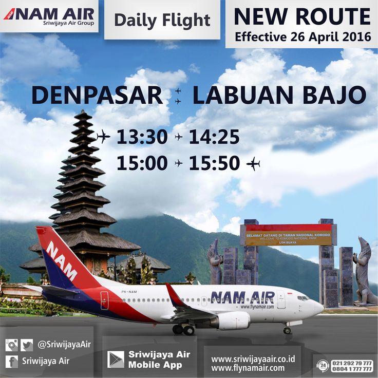 Ayo terbang ke Labuan Bajo dan kunjungi Pulau Komodo yang terkenal sebagai salah satu situs warisan dunia !! Rute baru NAM Air Mulai 26 April 2016 – UFN | Denpasar – Labuan Bajo ETD: 13.30 | Labuan Bajo – Denpasar ETD: 15.00. Book Now On : www.sriwijayaair.co.id | 021-29279777 / 0804-1-777777 | Mobile Apps : http://bit.ly/sriwijayamobile | Kantor Penjualan Sriwijaya Air Group di Seluruh Indonesia | Travel Agent Kepercayaan Anda. Sriwijaya Air Group.
