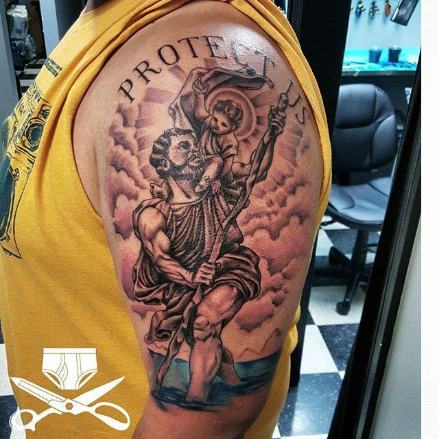 St. Christopher. The patron saint of travelers. 6 hours. Tough dude. #empiretattooinc #religioustattoo #halfsleevetattoo #blackandgraytattoo #guyswithtattoos #inkjecta #inkmaster #bostonbasedartist #illustration #tattoo #bostontattoo www.empiretattooinc.com