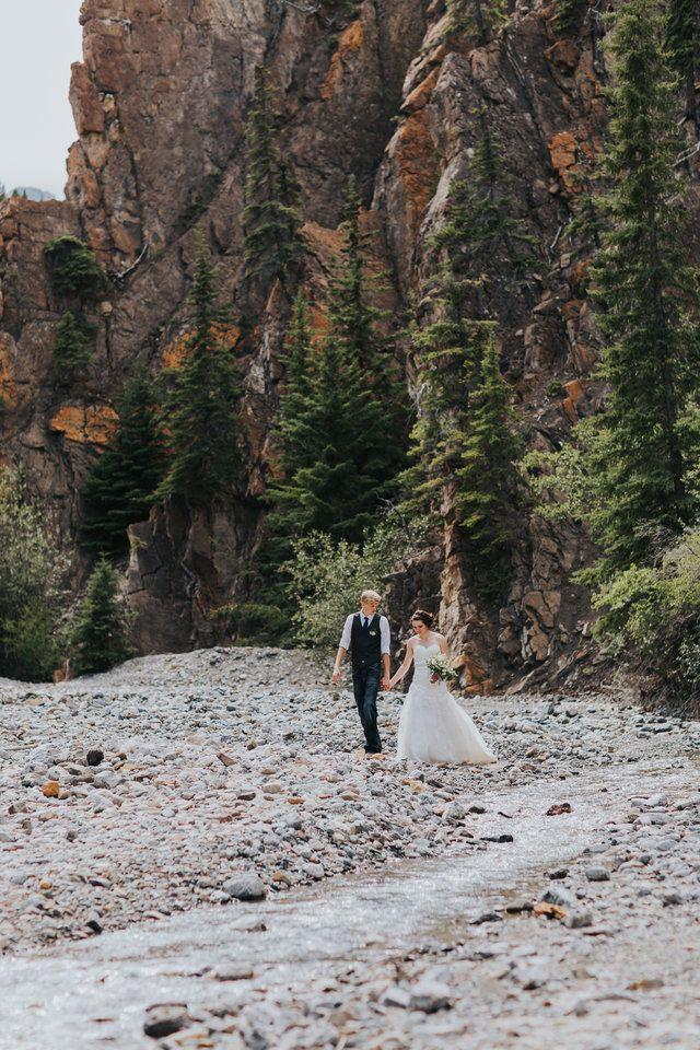 wedding in dry creek bed in Nordegg