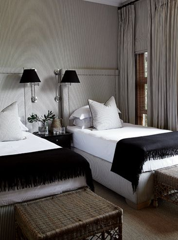 Masculine Guest Bedroom With Twin Beds And Fabric