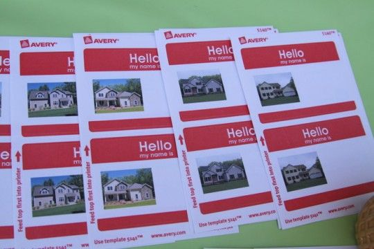 Put a picture of each house onto a name tag so people can match a family with their house at a neighborhood block party :)
