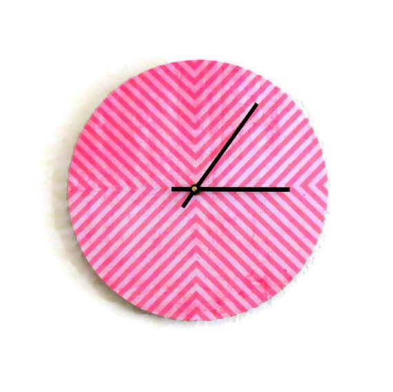 Pink Wall Clock Geometric Clock  Home and Living by Shannybeebo, $47.00
