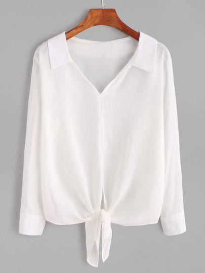 Blusa con cuello en V ribete anudado-Sheinside