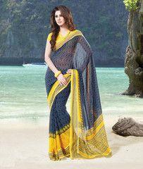 #Grey and yellow color #Georgette #saree #sari