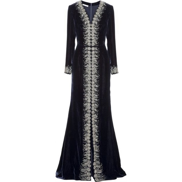 Oscar de la Renta Embellished velvet gown (5 165 AUD) ❤ liked on Polyvore featuring dresses, gowns, long dresses, oscar de la renta, navy, blue velvet dress, navy blue evening dress, beaded gown and navy blue gown