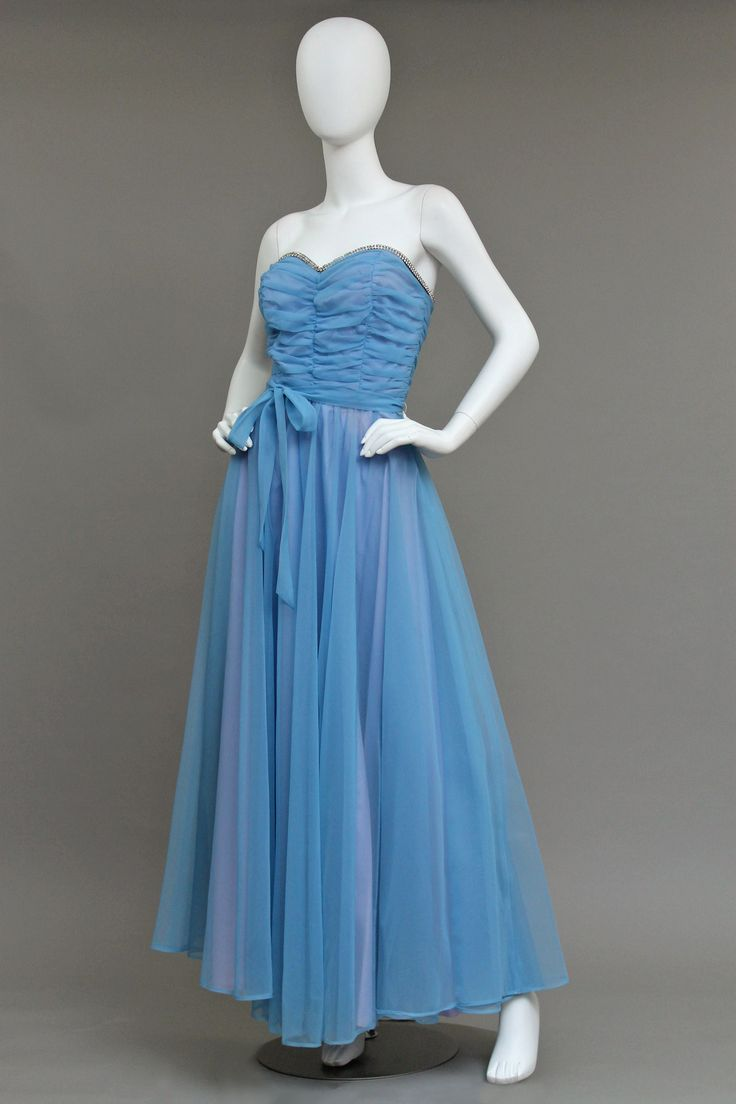 1970s ILLUSION SWEEP JEWELED BUSTIER EVENING GOWN - Make an Offer ...