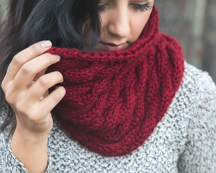 Chunky Wine Cowl | A cabled knit cowl in a striking color.