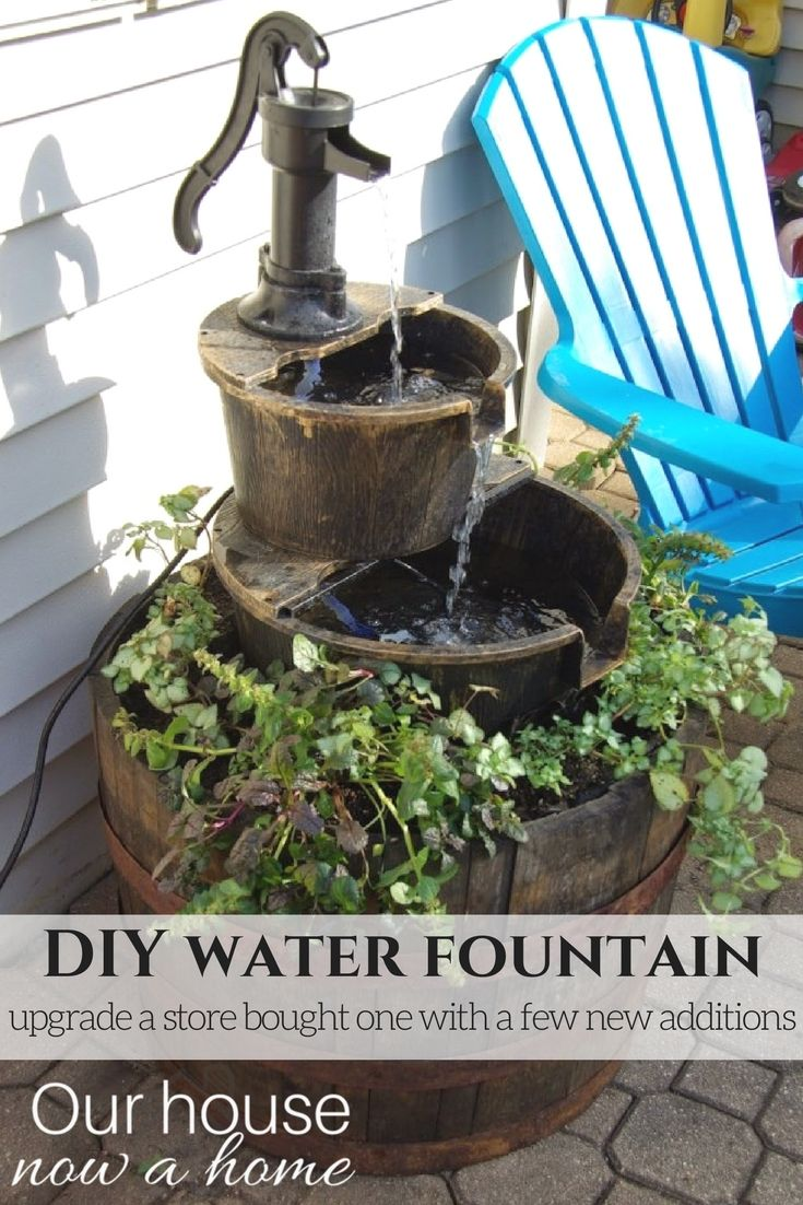 DIY water fountain  adding flowers and making the store bought water  feature become a stand373 best Outdoor Water Features images on Pinterest   Pond ideas  . Outdoor Water Fountains Diy. Home Design Ideas