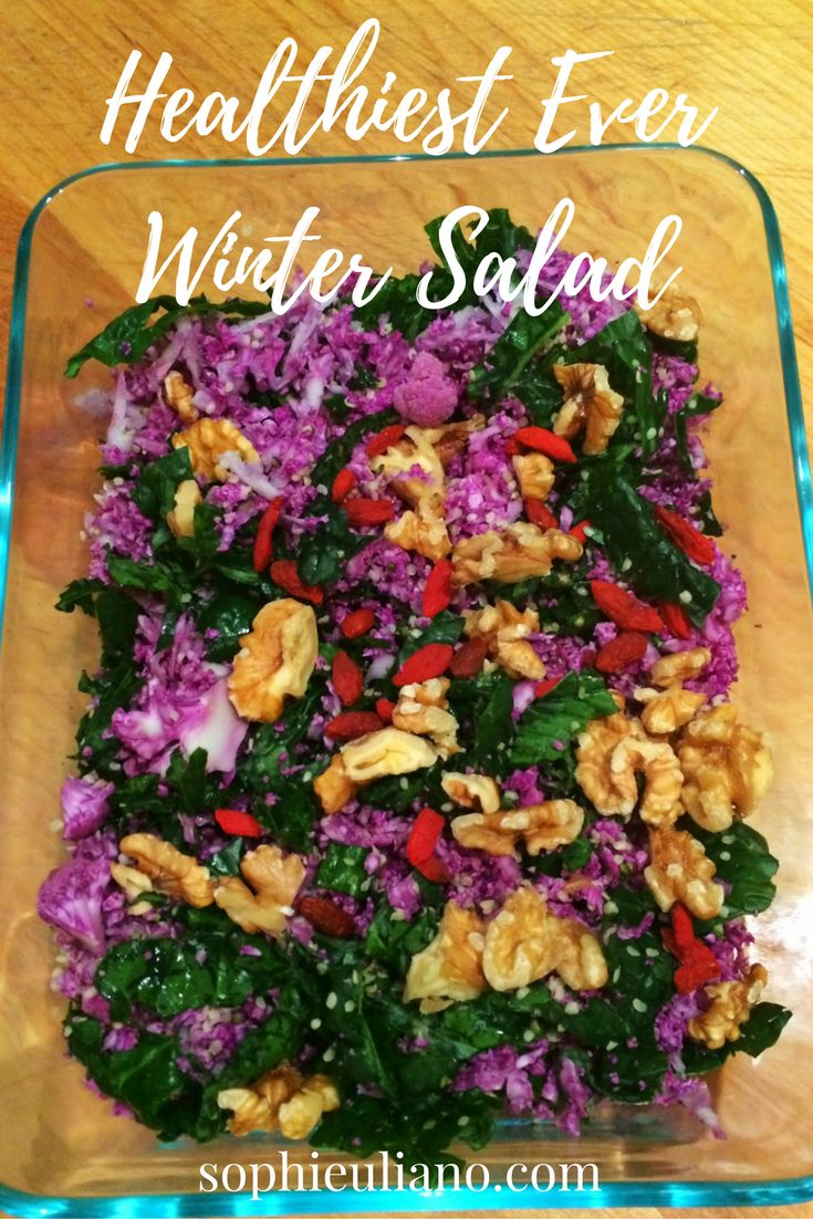 "I call this ""HEALTHIEST ever"" salad because it is FULLY LOADED with anti-cancer veggies, and is crunchy and delicious. Kale and Cauliflower guard against all kinds of cancer, and walnuts are especially preventative against breast cancer. I've also added hemp seeds for your omega 3 boost, and goji berries to keep your eyes strong. Check out this healthy plant-based recipe on my blog: http://sophieuliano.com/recipes/healthiest-ever-winter-salad-2/"