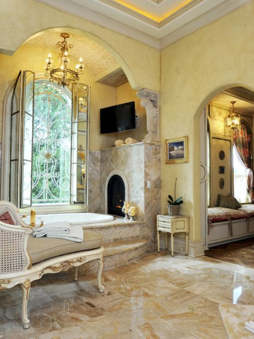 Venetian plaster walls are only the beginning of this luxurious Italian style bath...