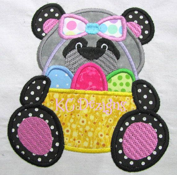 Easter Panda 02 Machine Applique Embroidery Design  by KCDezigns, $3.50