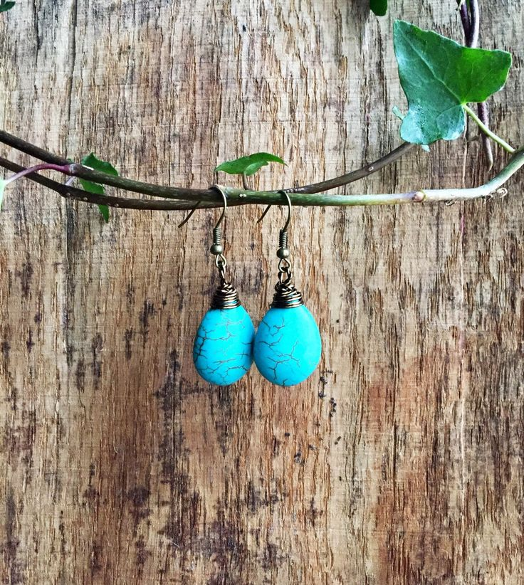 Turquoise earrings, teardrop earrings, ethnic earrings, bohemian style earrings, festival earrings, uk seller, uk shop by YouHadMeAtBoho on Etsy https://www.etsy.com/uk/listing/571681711/turquoise-earrings-teardrop-earrings