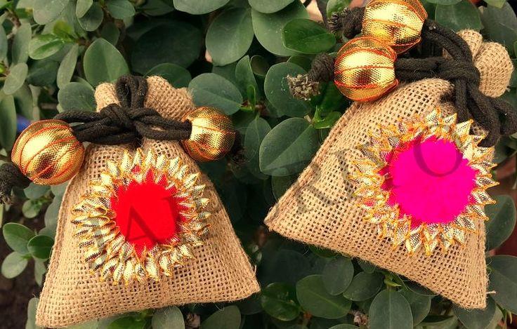 Burlap bags with goat motifs
